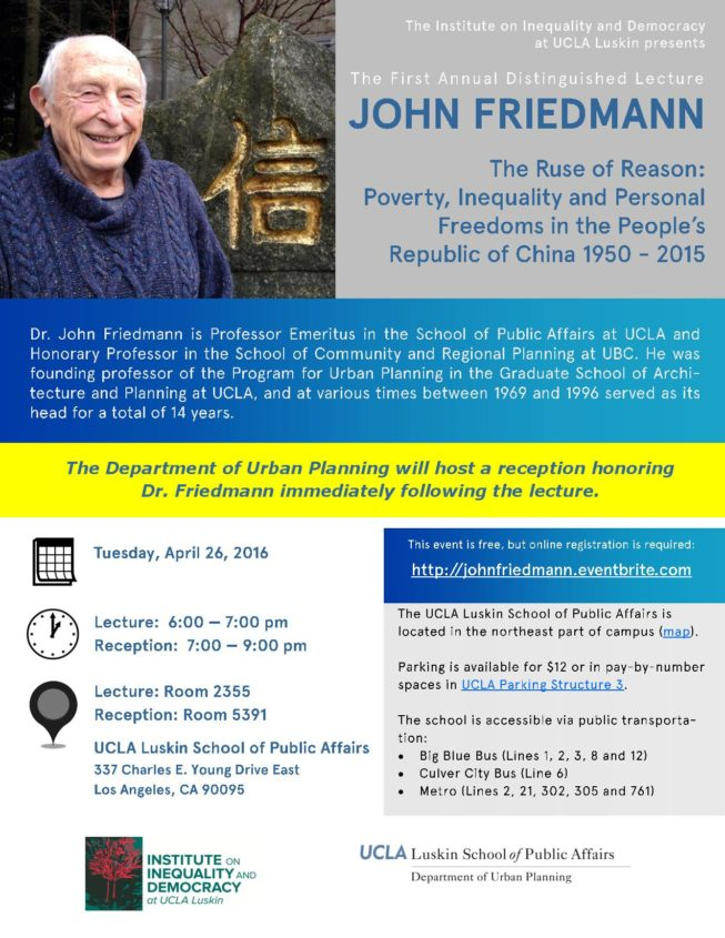 Flyer-John Friedmann April 2016